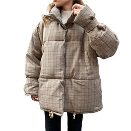 Korean turtlenecK zipper online shopping - Winter Women Lattice Cotton Coat Temperament Korean Turtleneck Plaid Parka Jacket Loose Casual Short Padded Warm Coats Female