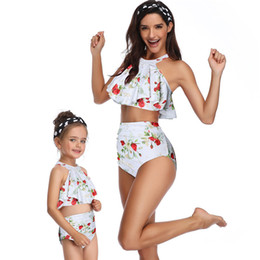 Match Clothing Mom Baby NZ - 2019 Summer mommy and me clothes mother daughter matching outfits swimwear Polka Dot bikni high waist vintage look mom baby