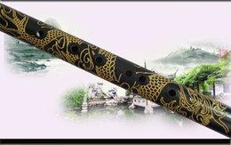 Großhandel Professionelle Ebony Bawu Flöte geschnitzten Drachen Bau F / G Key Transversal Flauta Manuelle Kalibrierung Tune Ton garantiert