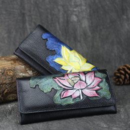 $enCountryForm.capitalKeyWord Australia - Designer-Chinese Style Lotus Long Women Wallets Lady Purses Female Luxury Phone Tassel Coin Pocket Designer Full-Grain Leather Card Holder
