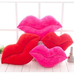 funny lips 2019 - 1pc Cute Creative Pink Red Lips Plush Cushion Funny Home Decoration Sexy Lip Cushions Sofa Chair Throw Pillows discount