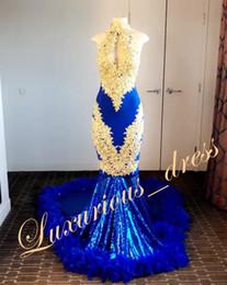 Tulle Feathered Prom Dresses Australia - Elegant Royal Blue Mermaid Prom Dresses 2019 Exquisite Beaded Gold Appliques Lace Sequin Feathers Evening Dresses Arabian robes de soirée