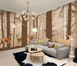 yarn painting UK - Nordic Woods Elk Creative Whole House Background Wall Painting Beautiful 3d Wallpaper