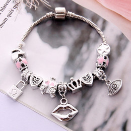 $enCountryForm.capitalKeyWord Australia - Antique Silver Charm Bracelet & Bangle with Lips and Lock Pendant Crystal Ball Women Wedding Mother's Day Gift Wholesale Price