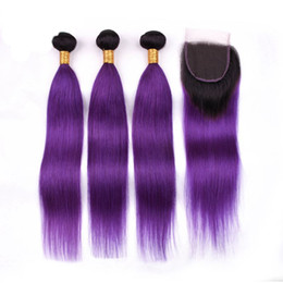 under dye hair Australia - Elfriede Pre Dyed #T 1B Purple Straight 100% Brazilian Remy Human Hair Weavings Hair Bundles 3pcs with 4x4 Lace Closure Free Shipping