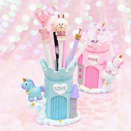 pencil cosmetics Australia - Pink Unicorn Pen Holder Office Organizer Cosmetic Square Pencil Pen Stand Holders Stationery Container Office School Supplies