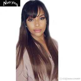 Discount human hair front fringe - Lace Front Human Hair Wigs With Bangs 1B30 Ombre Straight 130 Density Peruvian Remy Hair Natural Hairline Fringe wig