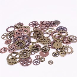 $enCountryForm.capitalKeyWord Australia - Sweet Bell Wholesale Mix 200 pcs steampunk Charms Gear Pendant two color Fit Bracelets Necklace DIY Metal Jewelry Making D1207