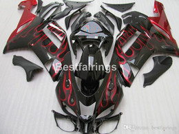 aftermarket fairing kits zx6r Australia - Aftermarket body parts fairing kit for Kawasaki Ninja 636 ZX6R 2007 2008 red flames black motorcycle fairings set ZX6R 07 08 MT11