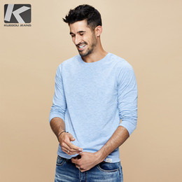 $enCountryForm.capitalKeyWord NZ - KUEGOU 2019 Autumn Cotton Letter Plain Blue T Shirt Men Tshirt Brand T-shirt Long Sleeve Tee Shirt Male Fashion Clothes Top 269
