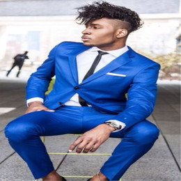 $enCountryForm.capitalKeyWord Australia - TPSAADE 2 Piece Latest Coat Pant Design Royal Blue Men Suit Formal Skinny Tuxedo Party Simple Modern Custom Jacket+Pants