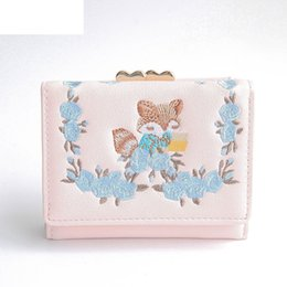 Embroidered Wallet Women NZ - good quality Women Mini Wallets Embroidered Lovely Foxe Mini Money Wallets High Quality Female Hasp Coin Purses Girl Coin Wallet