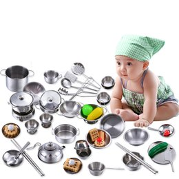 Children Cooking Kitchen Playing Set Australia - 16 Pcs Children Kitchen Toys Miniature Cooking Set Simulation Tableware Toy Stainless Steel Pretend Play Cook Toy for Kids Gift