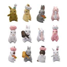 6Pcs / Set Micro Coniglio Miniature Mini Animal Crafts Modello in PVC Figurina di lepre Ornamento per la decorazione del giardino di casa Misto casuale