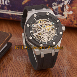$enCountryForm.capitalKeyWord Australia - Luxury Mens Watches Hollow Dial Mechanical Automatic Watch 45mm 316L Steel Case Blue Rubber Band Mechanical Wristwatches reloj de lujo