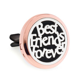 air figure Australia - Best friends rose gold Magnet Open Car Diffuser 30mm Essential Oil Car Perfume Locket Vent Clip Car air freshener 10pcs free oil pads