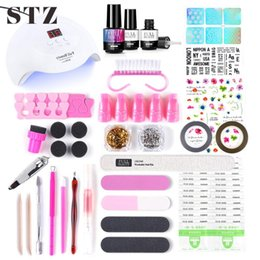 file cuticle remover Australia - STZ Nail Art Manicure Kit LED Lamp Nail Dryer Charms Gel Polish Pedicure Remover Cuticle Pusher File Transfer Sticker #1574