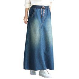 6f0774f31b Maxi Falda larga con cintura alta 2019 Otoño Invierno Algodón Denim Jeans  Falda para mujer Tallas grandes Moda coreana Saia Faldas Largas Rokken