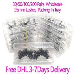 Toptan satış 30/50 / 100 / 200Pairs Toptan 25mm 3D Vizon Kirpikleri 5D Vizon Kirpikler Ambalaj Kaset Etiket Makyaj Dramatik Uzun Vizon Lashes