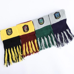 Hufflepuff scarf online shopping - 4 Styles Harry Potter College Scarf Gryffindor Slytherin Hufflepuff Ravenclaw Knitted Neckscarf With Badge Tassel Scarves CCA11145