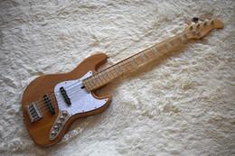 Vente en gros Guitare basse électrique de couleur bois naturel fait sur commande d'usine avec 5 cordes, Pickguard de perle blanche, matériel de chrome, qualité