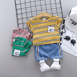 Korean Kids Suits Australia - todder boys carton summer clothes for boys 2pcs 2pcs Korean cotton suits baby clothing kids clothes Infant Boys kids wear new summer 1-2-3-4