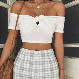fae40bd98c5 Summer Crop Top Sexy Tank Top Women Off Shoulder Tops Womens Clothing  Casual Ladies Tops Bow Vest Women Blouse Solid Color Shirt