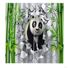Wholesale bamboo D Curtains Living Room Bedroom Drapes Cortinas Customized size brick curtains panda curtain Blackout curtain