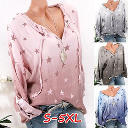 Wholesale star puff online – oversize 2019 spring new casual tops ladies long sleeved Star Print Long Sleeve Casual Shirt large size t shirt women s Loose shirt S XL