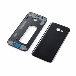 Galaxy A3 Housing Australia - For Samsung Galaxy A3 2017 SM-A320F A320 Housing Battery Back Glass Cover+Lcd Metal Middle Frame+Power On Off Side