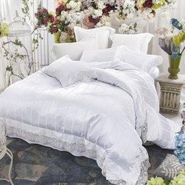 Queen Size Princess Bedding Australia - Svetanya White Lace Princess Bedding Set Queen King Size Bedclothes Silk Cotton Blend Fabric Bedlinen