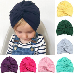 Girl Hat Styles Summer Australia - New Designed Cute Baby Cotton Soft Turban Knot Girl Summer Hat Bohemian style Kids Newborn Cap for baby girls 12 colors