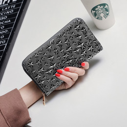 handbag red point UK - Five-pointed star zipper wallet European and American trend long section handbag new hit color ladies clutch bag women bag