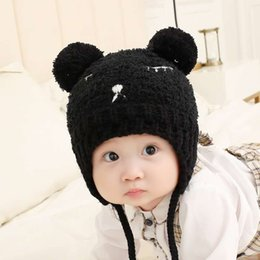 8962d358665 2019 hot new free shipping Korean version of the bear children s embroidery hat  autumn and winter new knitted plush men and women baby
