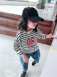 Designs Girls Shirts New Australia - 2019 New Autumn Item Girl Long Sleeve Stripe T-shirt Two Colors Casual Design