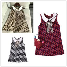 $enCountryForm.capitalKeyWord Australia - Double FF Girls Vest Shirt Skirt Luxury Kids Designer Dress Princess Sleeveless Doll Lapel Dresses Fashion Bowknot One Piece Dresses B6201