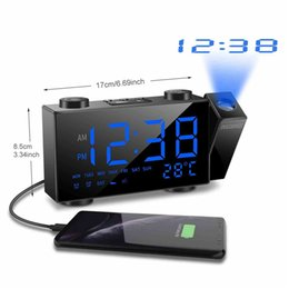 radio times NZ - Digital Projection Alarm Clock 2 Alarm Dimmable Clock FM Radio Thermometer USB Charging Port Weather Calendar Time Projection