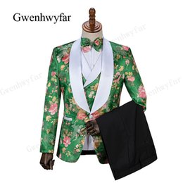 shawl collar tuxedos Canada - Gwenhwyfar Men Suit One Button green Jacquard Suit with Pants Tuxedo Shawl Collar Wedding Suit Custom Made (Jacket+Pants+vest)