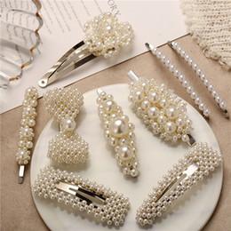 Venta al por mayor de Romper las horquillas para las mujeres Clips de pelo de perlas simuladas Garras de pelo de cangrejo para niñas Barrettes Sombreros Sombreros Accesorios