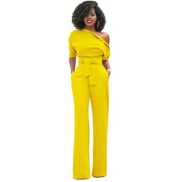 black one shoulder jumpsuits women UK - Women Jumpsuits Sexy Off One Shoulder Elegant Ladies Rompers Short Sleeve Female Overalls Black Red Yellow Blue Plus Size XXL T5190614