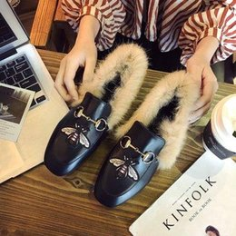 rabbit shoes white Australia - Autumn and winter woolen shoes plus lazy shoes casual students flat bottom rabbit fur peas square head women shoesZ10