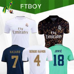 Großhandel Real Madrid Trikots 2019 GEFAHR Isco REINIEsoccer Trikot SERGIO RAMOS MODRIC BALE Fußballhemd-Uniforminstallationssatz 19 20 camisetas EA Sports