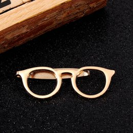 $enCountryForm.capitalKeyWord Australia - Tie Clip Glasses Shape Metal Tie Clip for Men Glasses Commercial Necktie Clips Pin for Men Suits Shirt Pocket