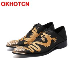 social shoe leather mens NZ - Dragon Embroidered Leather Shoes Men Dress Lace Up Wedding Shoes Metal Toe Mens Classic Fashion Sapato Social Masculino