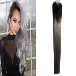 "Ombre Micro Rings Australia - 14"" 16"" 18""20""22""24"" Loop Micro Ring Machine Made Remy Hair Extension 100% Human Hair Straight Ombre Piano Color Micro Links 100g 100s"