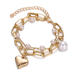 $enCountryForm.capitalKeyWord Australia - Double Love Heart Pearl Bracelet Cute Sweet Girl Bracelet Temperament Wild Metal Heart Pendant Sen Handmade Free Shipping