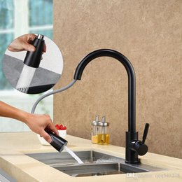 kitchen taps pull out black NZ - Double Water Modes Setting Pull Out Kitchen Faucet Pearl Black And Brushed Surface Choice Mixer Sink Water Tap