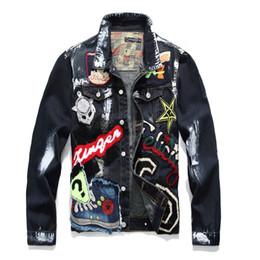 Trendy plus size jeans online shopping - Plus Size M XXXL Men s Letter Beauty Patches Painted Black Denim Jacket Trendy Multi Badge Patchwork Outerwear Jeans Coats