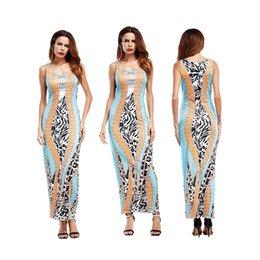 db1dc3579 Vestido de las mujeres Moda de verano chaleco sin mangas raya Estampado  multicolor Elegante Dama Columna vaina Cintura Casual Vestidos largos falda  Tamaño ...