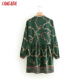 chains for dresses Australia - Casual Dress Women Elegant Mini Chain Print Vintage Lady Pleated Female O Neck Green Dress For Womens Short Party Dress